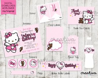 """Hello Party Package /Hello Party /Kitty Invitation/Free Tag 2"""""""