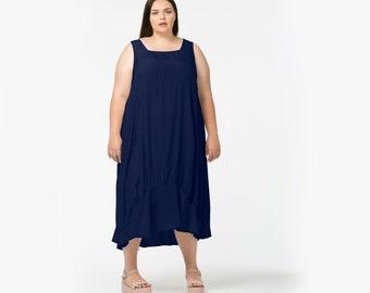 Navy blue or black cotton jersey Tulip Dress