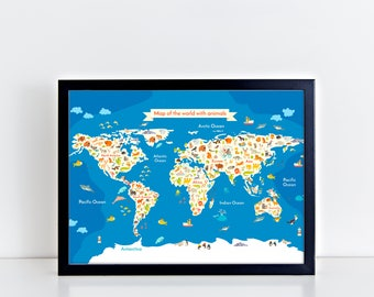 ANIMAL Map Of The World Map For Children And Kids Art Print World Map Nursery Wall Decor Animal Art Map Print