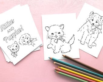 Kitties & Puppies MINI COLORING PAGES - Digital File- Instant Download- quiet activity, on-the-go, party favor, coloring book, pocket size