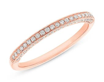 Womens 0.30CT 14K Rose Gold Beaded Milgrain 3 Sided Diamond Wedding Band Ring 2mm