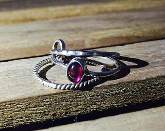 On Sale Natural Garnet Ring - 925 Sterling Silver Gemstone Ring - Wedding Ring - Handmade Stacking Ring - Gift for Her