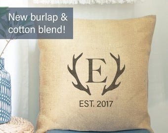 Deer Antler PILLOW COVER | Farmhouse Pillow Covers | Personalized Wedding Gift for Couple Monogrammed Pillow Deer Antler Bridal Shower Gift