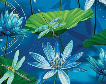 Dance of the Dragonfly, Turquoise Floral and Dragonfly Fabric, Lily Pads Fabric, WaterLily Pool UltraMarine, by Kanvas Studio, 8499-84