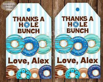 Donut Favor Tags Tags Donut Birthday Thank you tags Doughnut Birthday Donut Favour tags Donut party hole bunch PRINTABLE blue teal FTDonut1