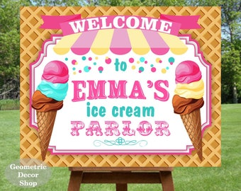 Ice Cream Sign- Ice Cream Parlor- Pink Teal- Ice Cream Party Sign- Ice Cream Social- Birthday Party Sign- Welcome Sign- Printable- YOU PRINT
