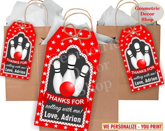 Thank you cards Bowling Favor tags digital gift Decoration birthday printable DIY Red Black Thank you card tag Girl Boy Birthday Party FTB6