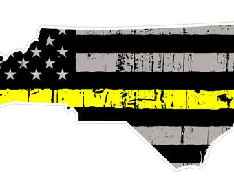 North Carolina  State (E34) Thin Yellow Line Dispatch Vinyl Decal Sticker Car/Truck Laptop/Netbook Window