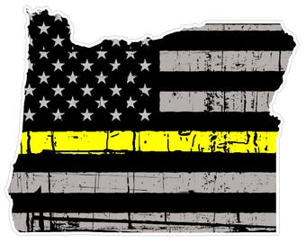 Oregon State (E38) Thin Yellow Line Dispatch Vinyl Decal Sticker Car/Truck Laptop/Netbook Window
