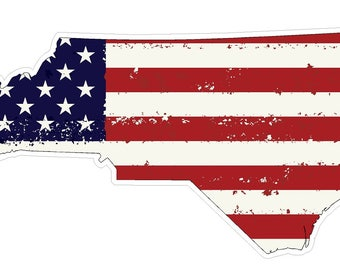 North Carolina State (J34) USA Flag Distressed Vinyl Decal Sticker Car/Truck Laptop/Netbook Window