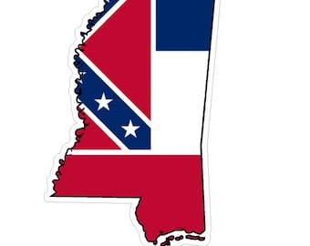 Mississippi State (Q25) Shape Flag Vinyl Decal Sticker Car/Truck Laptop/Netbook Window