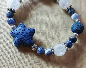 Sodalite, Quartz, & Lava Stone Aromatherapy Bracelet