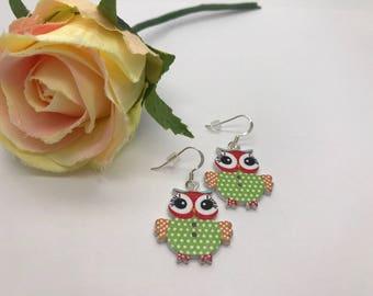 Cute Wooden Owl Earrings