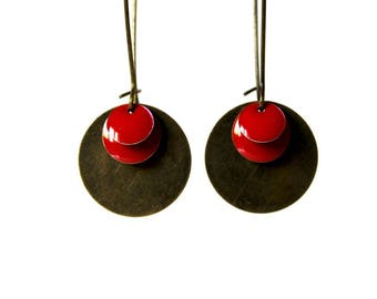 Earrings ° Sequins glazed (red)