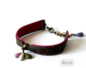 Bracelet Liberty ° ° enamelled Sequin pink (khaki)