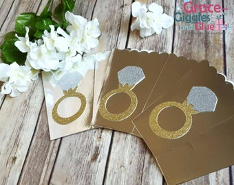 10 Gold or Silver Glitter Diamond Ring Themed Favor Boxes, Bridal Shower Favor Box, Engagement Favors