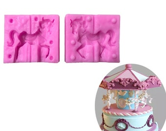 Carrusel Horse Shaped 2 PCS Fondant Silicone Mold 3D Craft Cake Decorating Tools DIY Cake Baking Mold Chocolate Candy Tools