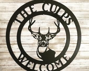 Family Monogram Deer Head Sign