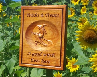 Halloween Decor Wood Carved Good Witch on a Broom