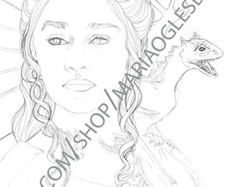 DIGITAL DOWNLOAD Game of Thrones Portraits, Daenerys Stormborn and Jon Snow Coloring Pages, Downloadable Geeky Fantasy Adult Coloring Pages