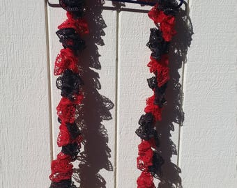 RTS: Red and Black Ruffle Crochet Scarf
