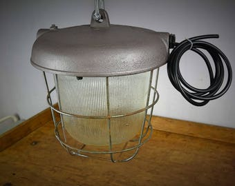 Industrial Polish Caged vintage industrial lamp purple/silver , factory lighting, pendant light, industrial lighting