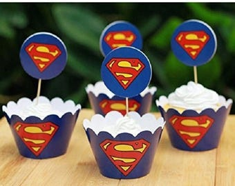 ON SALE 24 Piece SUPERMAN Cupcake Wrappers and toppers Superman cupcake SuperHero Cupcake toppers