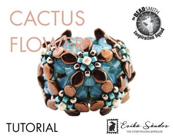 Cactus Flower beaded bead tutorial with gekko beads, bicone beads and Czech fire polished beads