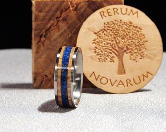 Oak Whiskey Barrel and Blue Lapis Lazuli Stone inlay Titanium Ring, Whiskey wood inlay ring, Stone and wood ring, Oak Whiskey Barrel Ring