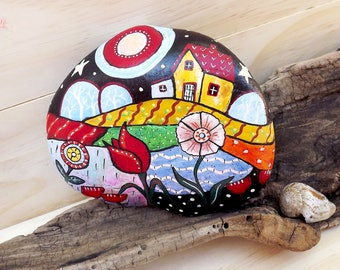 Painted rock original Christmas gift, village, night, stars, rustic home decoration outdoor decor bookend children flower stylish art design