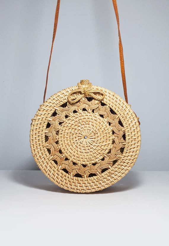 Classic Pattern Round Basket Bag Woven Design Round Bag