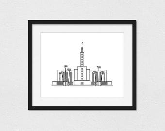 Los Angeles Temple Print // 5x7, 8x10, or 11x14 // Portrait or Landscape // Custom // Foil Printing Available