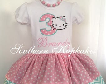Girls Kitty Dress Twirl Birthday Custom Made Cat Hello Party Boutique Pageant All Sizes Ages 1st First 2nd Second 3rd Third Pastel Kawaii