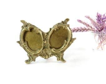 Brass Photo Frame - Double Photo Frame - Brass Oval Ornate Photo Frame - Two Photos Frame - Double Pictures Photo Frame