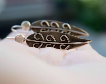Leaf sterling silver earrings, Leaf earrings, Artisan silver earrings, Sterling silver earrings, Oxidised earrings, Dangle silver earrings