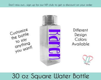 Square Water Bottle - Personalized Bottle - 30 oz water bottle - Custom Water Bottle - Unusual Water Bottle - Groomsman Gift - Gift for Her