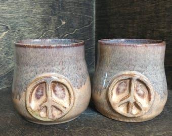 SECONDS  Pair of Peace Cups, Handleless Mugs, Tea Cups, Tea Bowls