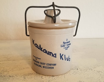 Vintage Kaukauna Klub Cheese Butter Crock Spreads Like Butter Advertising Wisconsin USA Stoneware