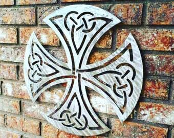 Handmade Art   Metal Wall Art   Metal Wall Decor   Celtic   Celtic Cross   Silver   Unique Gift   Tribal   Cross   Metal Wall Sculpture