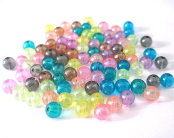 90 bright beads 6mm glass color mix