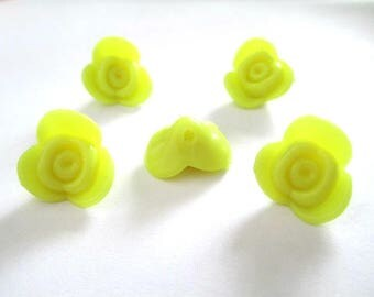 5 beads acrylic flower yellow 15x15x8mm