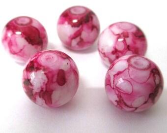 5 red beads drawbench glass 12mm