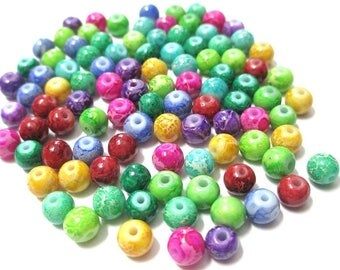 90 marbled glass beads mix color 4mm