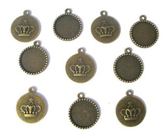 support cabochon bronze pattern Crown 26x22m 10 pendants