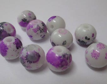 10 white speckled purple and black glass beads 10mm (H-4)