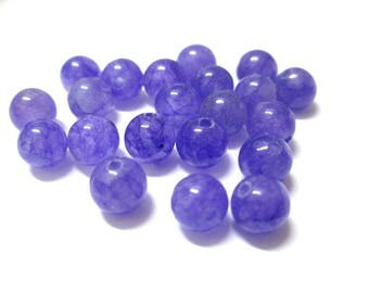 10 pearls purple 6mm natural jade (G)