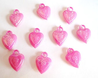 heart pendants 10 acrylic fuchsia ab color 20x14mm