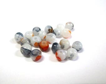 20 speckled orange and grey 4mm white glass beads