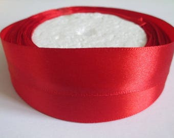 5 m 20mm red colored satin ribbon