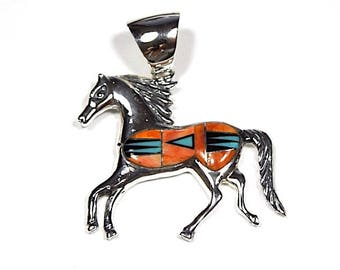 Multicolor, Spiny Oyster & Turquoise Inlay Solid 925 Sterling Silver Horse Pendant For Necklace